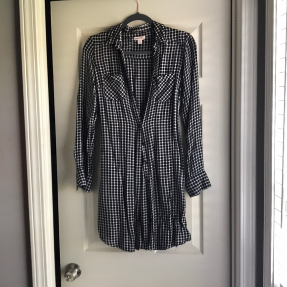 Merona Dresses & Skirts - Black and White Check Button Down Dress